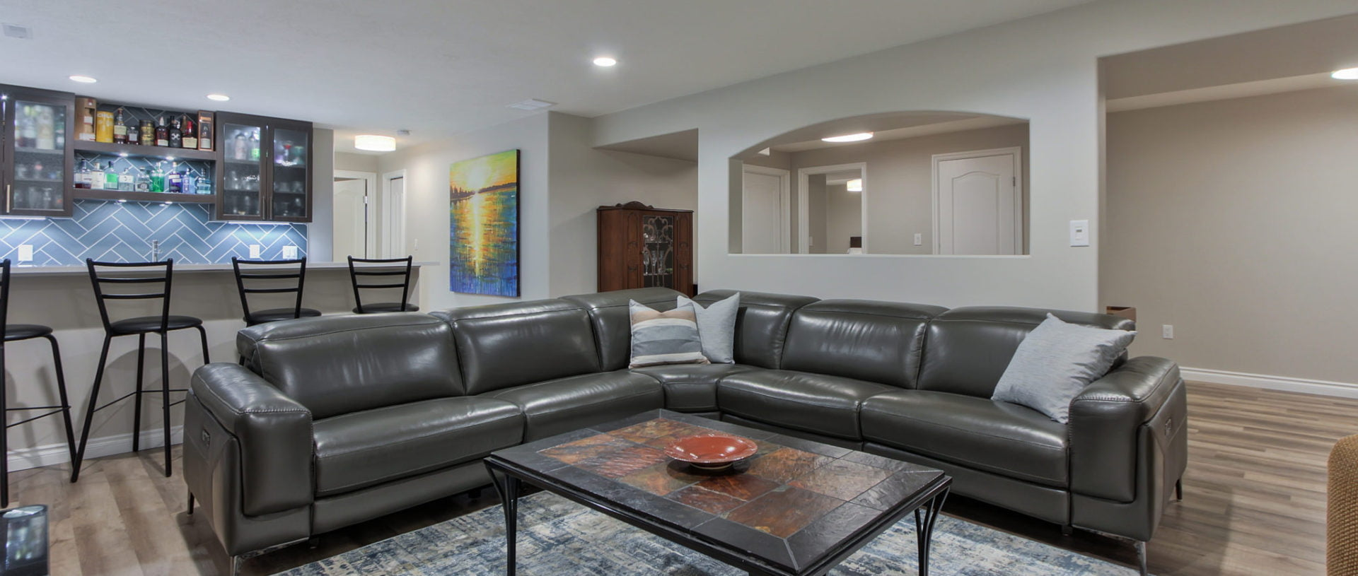 Basement rental suite in Edmonton with wet bar and custom features
