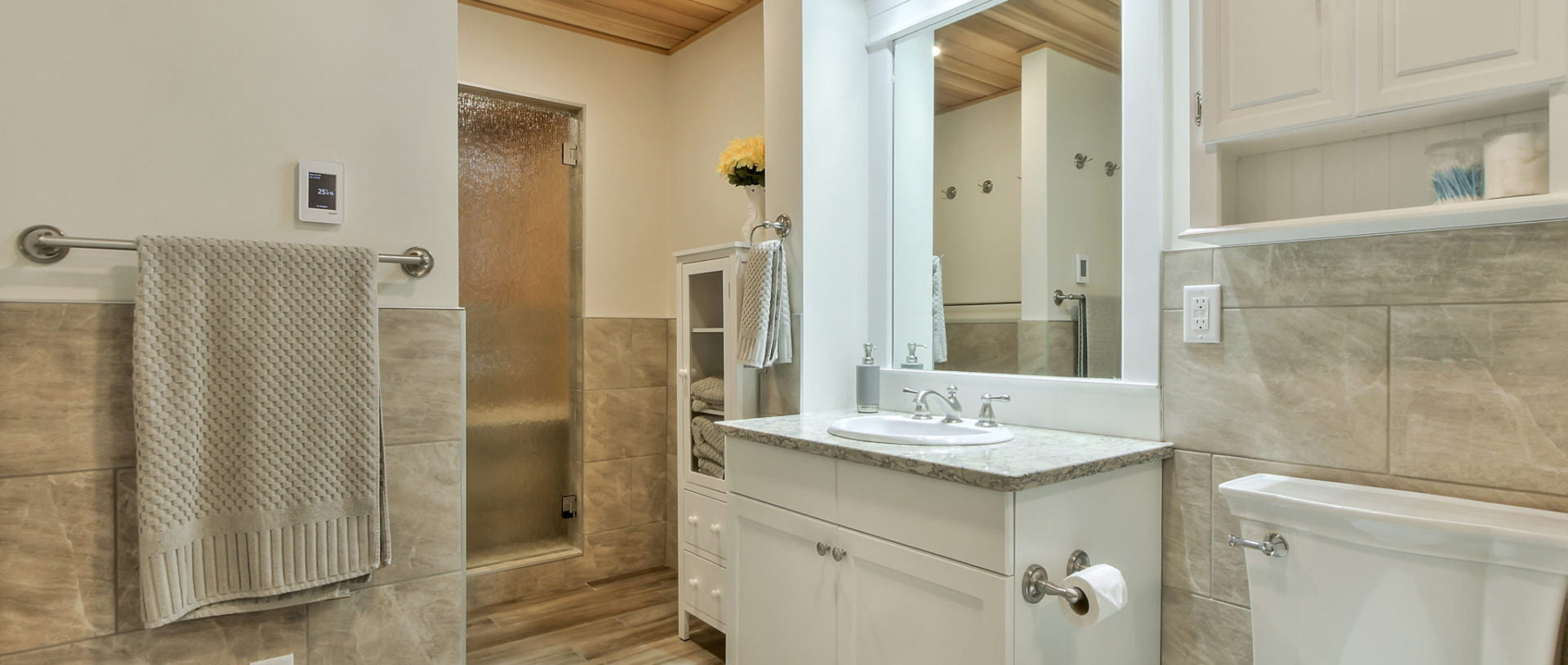 Custom Edmonton bathroom with built-in sauna