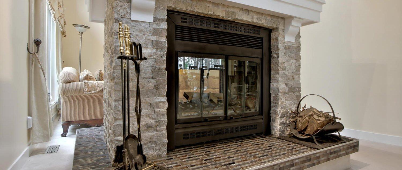 Custom double-sided brick fireplace for Edmonton home
