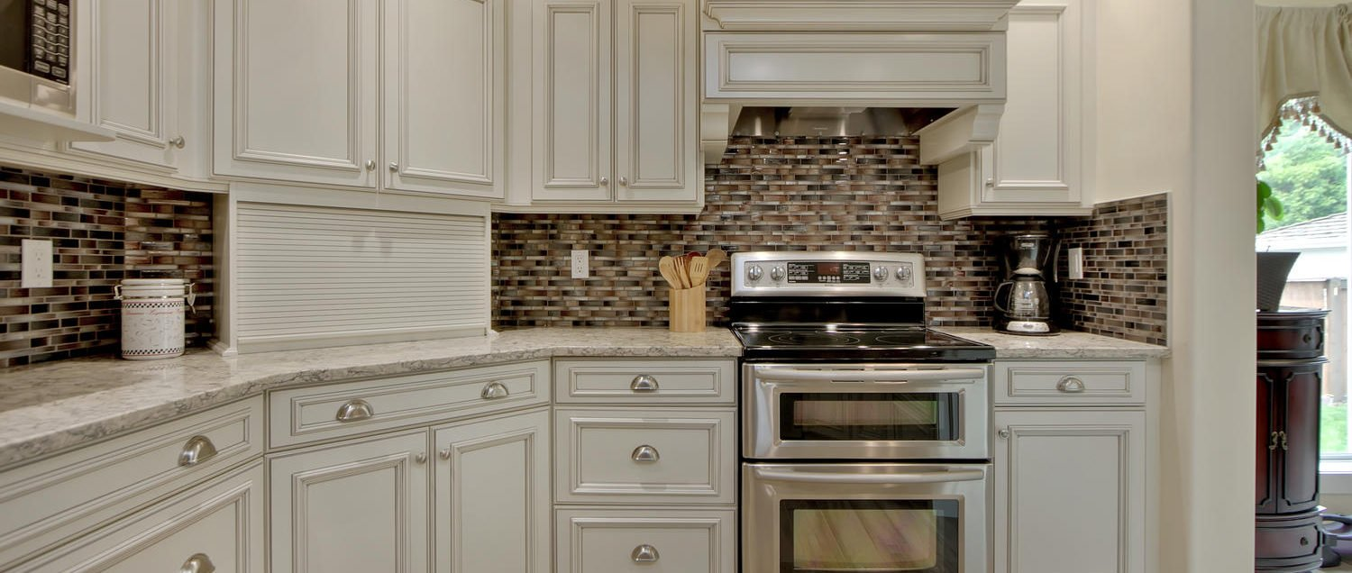 Complete kitchen renovation in Edmonton with Colonial style cupboards