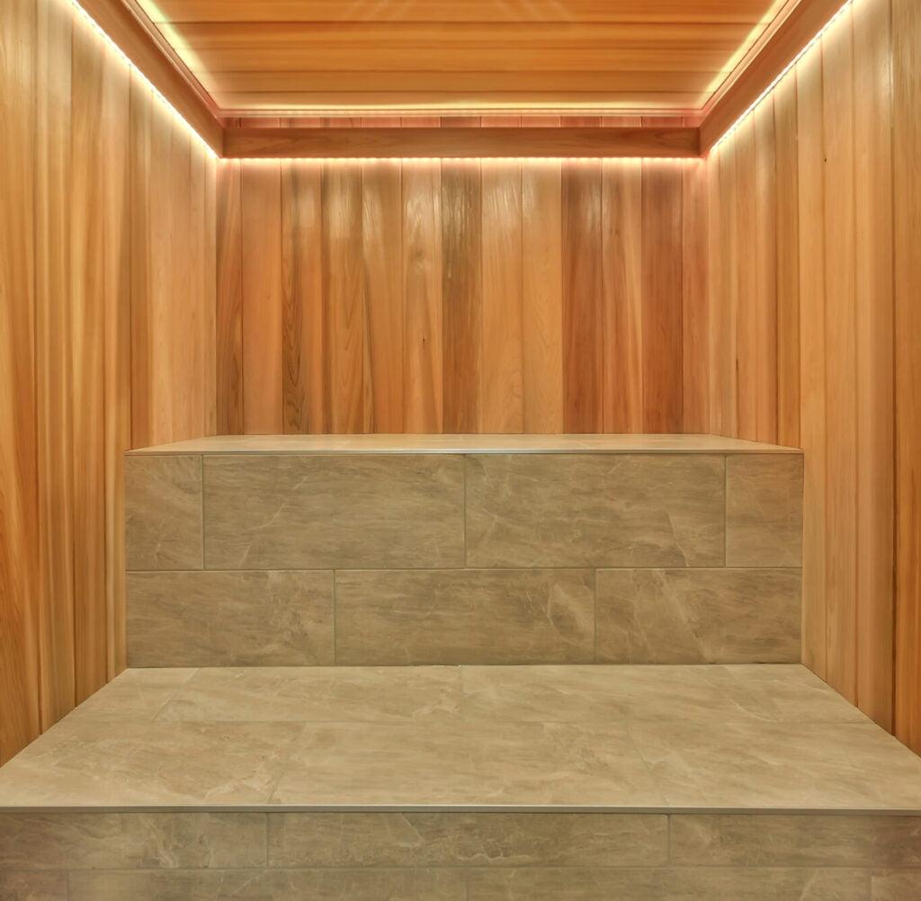 Cedar Sauna, LED lights, Tile seat