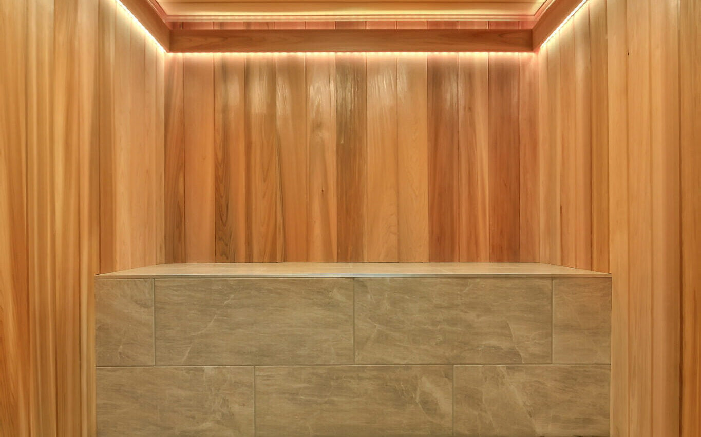 Cedar Sauna, LED lights, Tile seat